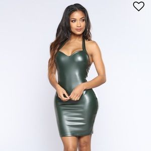 Sexy faux leather halter top party dress